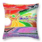 Technicolor Sunset Throw Pillow