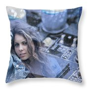 Technology Girl Throw Pillow