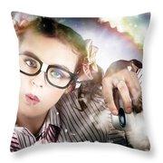 Technology Smart Woman Using Cloud Computing Throw Pillow