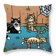 Cats Having Fun Playing With Spiders Throw Pillow
