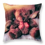 Teddy Bear And Suitcase Throw Pillow