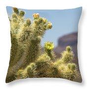 Teddy Bear Cholla Cactus With Flower Throw Pillow
