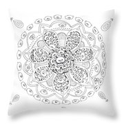 Teddy Bear Mandala Throw Pillow