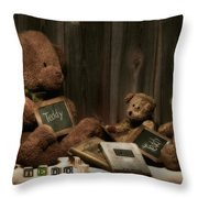 Teddy Bear School Throw Pillow by Tom Mc Nemar