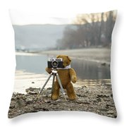 Teddy Bear Taking Pictures With An Old Camera By The Riverside Throw Pillow