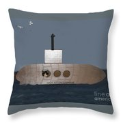 Teddy In Submarine Throw Pillow
