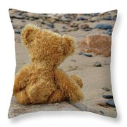 Teddy On A Beach Throw Pillow
