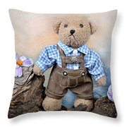 Teddy On Tour Throw Pillow