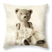 Teddy With Daffodils - Toned Throw Pillow