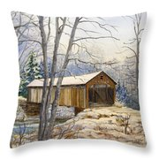 Teegarden Covered Bridge In Winter Throw Pillow
