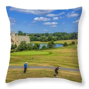 Teeing Off At Leeds Castle Throw Pillow