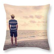 Teen Boy On Beach Throw Pillow