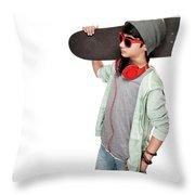 Teen Boy With Skateboard Throw Pillow