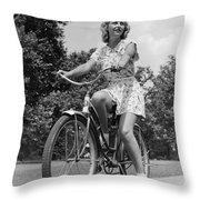 Teeng Girl Riding Bike On Sidewalk Throw Pillow