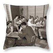 Teens At A Diner, C. 1950s Throw Pillow