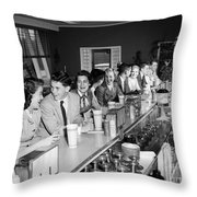 Teens At Soda Fountain Counter, C.1950s Throw Pillow