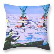 Teepees On Ice Throw Pillow