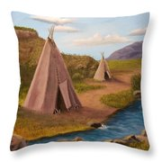 Teepees On The Plains Throw Pillow