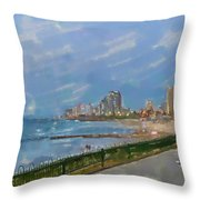Tel Aviv Beachline Throw Pillow