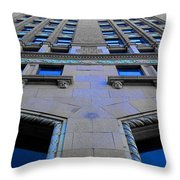 Telephone Building With Indigo Reflections Throw Pillow