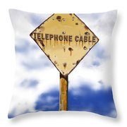 Telephone Cable Sign Throw Pillow