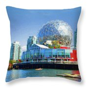 Telus World Of Science - Vancouver Canada Throw Pillow by Ola Allen