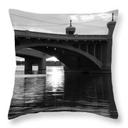 Tempe Town Lake Bridge Black And White Throw Pillow