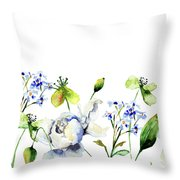 Template For Card With Decorative Wild Flowers Throw Pillow