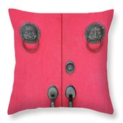 Temple Doors Throw Pillow