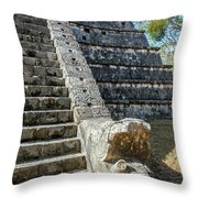 Temple In Chichen Itza Throw Pillow