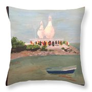 Temple In Sea Throw Pillow