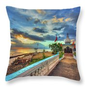 Temple In The Sea Throw Pillow