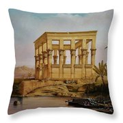 Temple Of Isis On The Nile River Throw Pillow