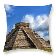 Temple Of The Feathered Serpent Throw Pillow