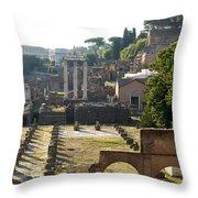 Temple Of Vesta. Arch Of Titus. Temple Of Castor And Pollux. Forum Romanum. Roman Forum. Rome Throw Pillow by Bernard Jaubert