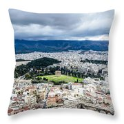 Temple Of Zeus - View From The Acropolis Throw Pillow