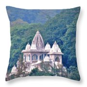 Temple In The Distance - Rishikesh India Throw Pillow