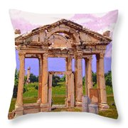 Temple Ruins At Ephesus Throw Pillow