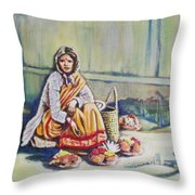 Temple-side Vendor Throw Pillow