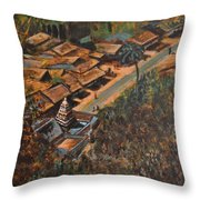 Temple Town Throw Pillow