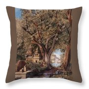 Temples And Burial Ground Near Poona Throw Pillow