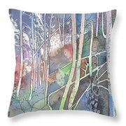Ten Faces In The Mystical Forest Throw Pillow