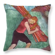Ten Of Wands Illustrated Throw Pillow