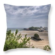 Tenby Pembrokeshire Low Tide Throw Pillow