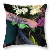Tending Flowers Throw Pillow