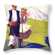 Tenerife, Canary Islands, Couple In Traditional Costumes Throw Pillow