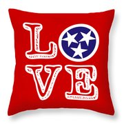 Tennessee Flag Love Throw Pillow
