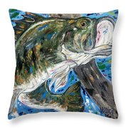 Tennessee River Largemouth Bass Throw Pillow