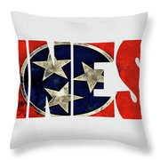 Tennessee Typography Map Flag Throw Pillow