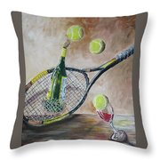 Tennis And Wine Throw Pillow